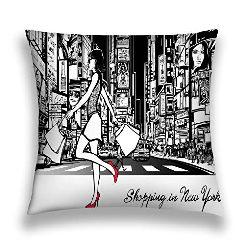 ctf6hfv5 Kissenbezüge Throw Pillow Cover Pillowcase Shopping Times Square New York Night All ads Imaginary Painting Sofa Home Decorative Cushion Case 18