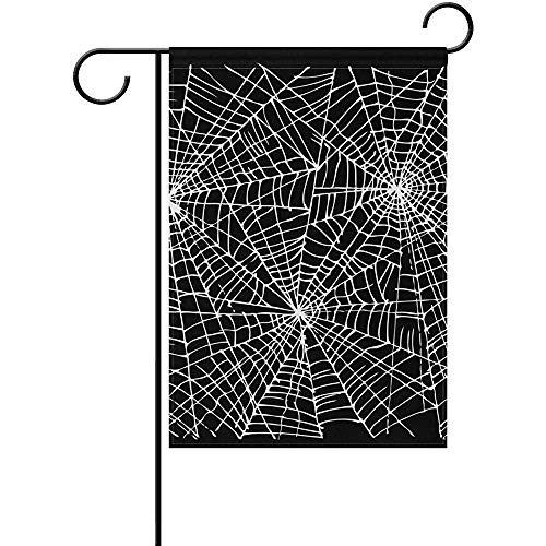 Mesllings Halloween Spider Web Garden Flagge Yard Banner Polyester for Home Flower Pot Outdoor Decor 12