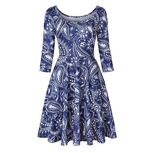 (Feitong Damen T-Shirt Frauen Drei Viertel Ärmel Druck Florale A Linie Casual Dress Party Kleid(EU-40/CN-L, Blau))