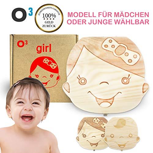 O³ Milchzahndose // Zahnbox für Mädchen oder Jungen wählbar // Dose aus Kiefernholz // Deutsche Version // Ideal als Geschenk zur Geburt // Zahndose Zahnfee (Mädchen)
