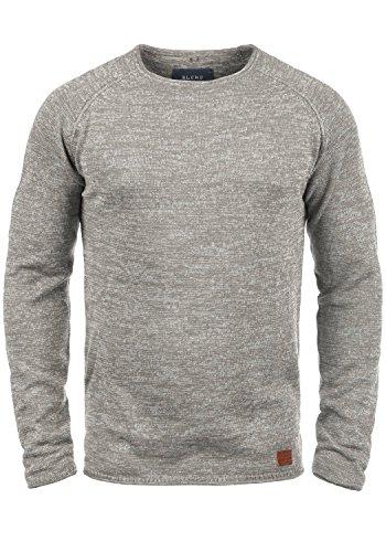 Blend Dan Herren Strickpullover Feinstrick Pullover Mit Rundhals Und Melierung, Größe:L, Farbe:Zink Mix (70815)