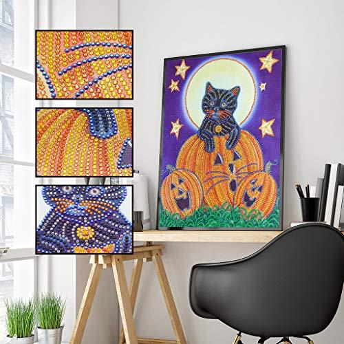 xmansk Halloween Deko, Diamant-Zeichnung, DIY Diamond Painting Set 5D Diamant Malerei Kürbis, Taro, Katze, Hexe 30x40cm