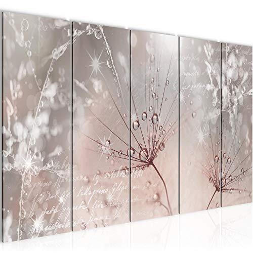 Bilder Blumen Pusteblume Wandbild 200 x 80 cm Vlies - Leinwand Bild XXL Format Wandbilder Wohnzimmer Wohnung Deko Kunstdrucke Rosa Grau 5 Teilig - MADE IN GERMANY - Fertig zum Aufhängen 205555b