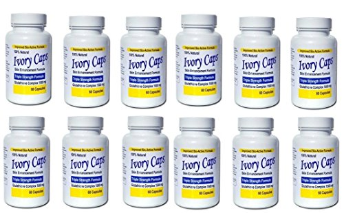 (Pack de 12)Ivoire Caps éclaircissement de la peau Pill Blanchiment Ivorycaps Pills glutathion 1500mg