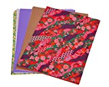 DI-Kraft Assorted Colour Handmade Printed & Plain Paper in A4 Size 150 GSM Set of 50