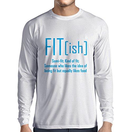 Langarm Herren t Shirts Fit - Ish Definition. Übung - Training - Turnhalle, sarkastische Geschenkidee, lustige Gewichtsverlust Sprüche (X-Large Weiß Blau) Finesse-snap