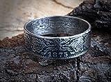 Coinring, Münzring, Ring aus sehr alter Münze (1 Mark Deutsches Kaiser-Reich 1875), 900er Silber - Double Sided coin ring - Größe 55 (17.5), handgeschmiedetes Unikat