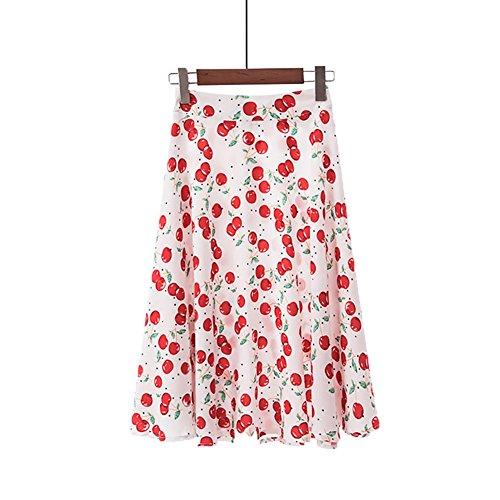 Women's High Waist Cherry Print Skater Skirt Midi Dress
