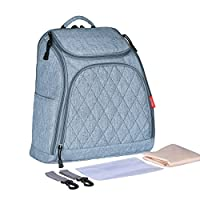 YoungSoul Baby Changing Bags, Nappy Backpack Diaper Bag with Stroller Straps, Changing Pad and Wet Organizer Bag Blue