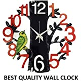 Dinines Craft Wooden Wall Clock Latest Antique Design For Home For Bedroom For Living Room For Kitchen Decorative Stylish Wall Clock For Home Decor For Office For Dining Room For Gifts 13X13 Inch (Red)