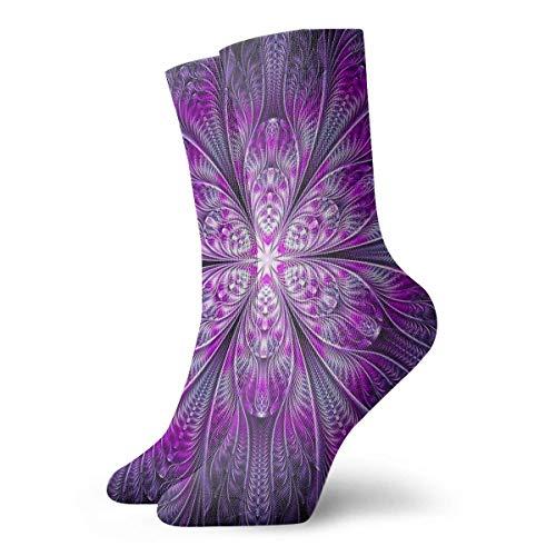 Crazy Sport Socke (Jxrodekz Unisex Adult Novelty Funny Crazy Crew Sock Purple Tie Dye Floral Flower 3D Printed Winter Thick Sport Athletic Socken Personalized Gift Socken)