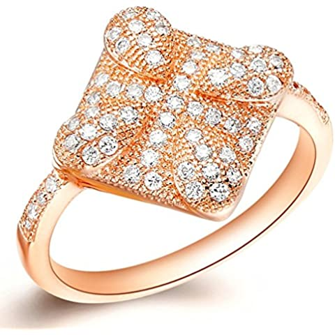 Vmculb Joyería Manera Anillo Chapado en Oro Mujer Oro Rose Rectángulo Forma de Gotitas Agua CZ con Circonitas Diamantes Imitación Pavé Anillos de Eternidad