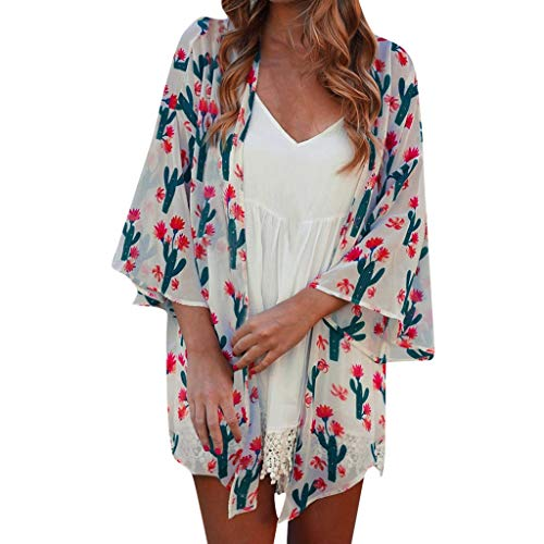 B-COMMERCE Frauen Kimono Cardigan Blumendruck Chiffon vertuschen lose beiläufige Bluse Top Beachwear Bikini Bademode Smock Plus Size (Kurzarm-kleid Karriere Frau)