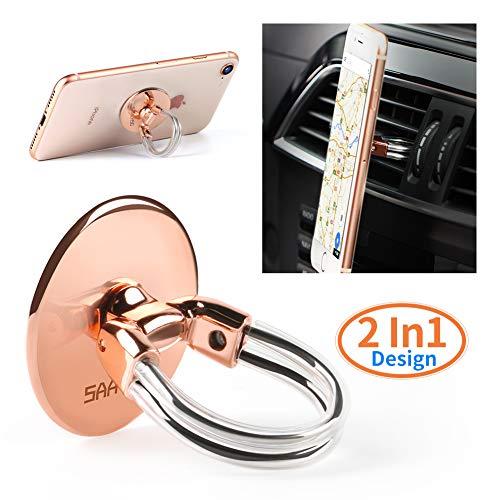 Handy Ring Halterung Finger Halterung 360 °Drehung und 180 °Flip sicherer Halt, bedienbar mit einer Hand, auch als Ständer und KFZ-Halterung benutzbar, Phone Ring für alle Handys und Tablets (Golden)