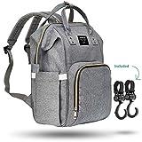 Baby Wickelrucksack/Wickeltasche von ABILITH – Multifunktionale Babytasche mit viel Platz, Reiserucksack, mit 2 Kinderwagen Haken, Grau