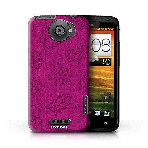 Kobalt® Imprimé Etui / Coque pour HTC One X / Rouge conception / Série Motif Feuille/Effet Textile Rose