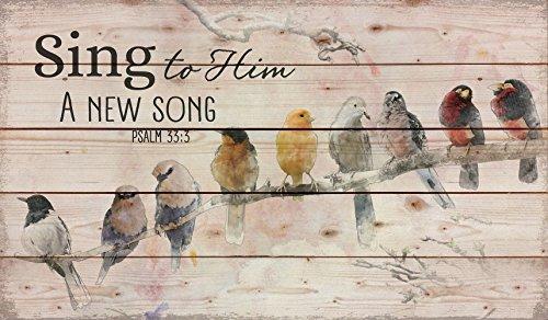Singet ihm ein neues Lied thront Vögel an einer Extremität 24 x 14 Holzpaletten Design Wall Art Zeichen