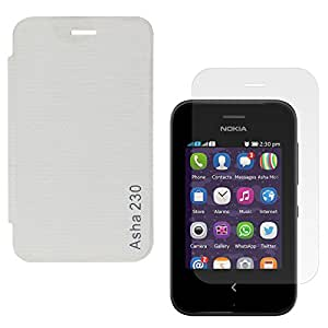 DMG Durable PU Leather Flip Cover Case For Nokia Asha 230 (White) + Screen Guard