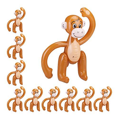 Relaxdays Set da 10 Scimmie, Scimmiette, Animali Gonfiabili Safari, per Feste di Compleanno Bambini, Carnevale, Piscina, Marrone