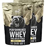 nu3 - Whey Protéines Performance / 2 x 1kg / Vanille/Protéines destinées à la prise de masse musculaire/Excellente solubilité et délicieuse saveur vanille/Haute teneur en protéines