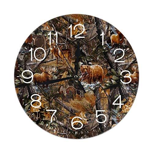 Uosliks Camo Hunting Deer Bear Moose Turkey Duck Wanduhr Silent Non Ticking, Round Easy to Read for Home Office School Clock Camo Deer Fall