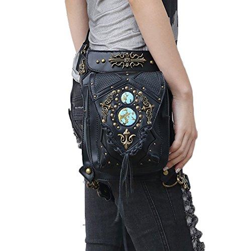 Cestlafit Frauen Herren Leder Steampunk Tasche Vintage Schulter Steampunk Handtasche Gothic Taille Packs Bein Tasche, Kreuz Krawatte & Dual Chambers, CFB004-7 CFB004-2