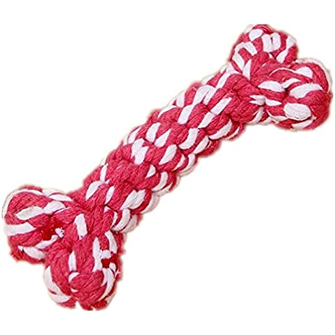corda giocattoli del cane corda intrecciata a mano cotone è durevole per la masticazione dei denti divertimento pulizia giocattoli da compagnia 3pcs (colore casuale)