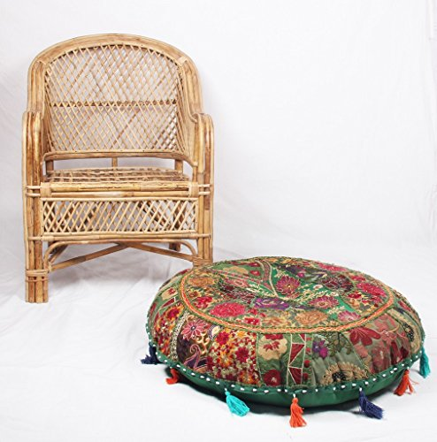 jth Bohemian Pouf ottomano Verde Patchwork indiano