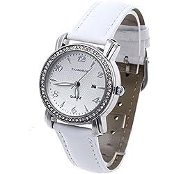 Facilla Ladies Quartz Watch with Date Display, Waterproof White Bracelet, Rhinestones