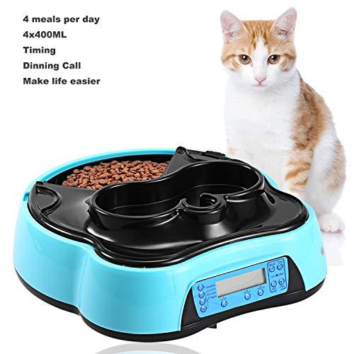 2 in 1 Automatischer Futterspender Futterautomat Katze mit Timer LCD Bildschirm und Ton-Aufnahmefunktion Wasserspender und 4 Fächern für Hunde und Katzen - für trockene und nasse Nahrung, 1.6 Liter