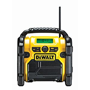 DeWalt DCR019 Construction Site Radio – 2in1 Battery Radio & Network Radio with AUX Input, Robust Casing, Cable Storage, Flexible Antenna and Roll Bar – Portable Radio for Reception of Analogue Signals
