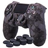 YoRHa Transfert d'eau Impression de Crne Housse en Silicone Coque Custom pour Sony PS4/Slim/Pro Mantte x 1 (gris) Avec FPS PRO thumb grip poignée pouce Pro x 8