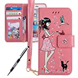 iPhone 7 Plus Custodia, iPhone 7 Plus Cover, JAWSEU iPhone 7 Plus 5.5 Custodia Pelle Portafoglio Ragazza Floreale Uccello di Gatto Lusso 3D Modello Creativo Luminoso PU Leather Wallet Flip Cover Custodia per iPhone 7 Plus Copertura con Morbida Gel Silicone Case e Porta carte Chiusura Magnetica [Shock-Absorption] Portafoglio Custodia per iPhone 7 Plus Case Protectiva Bumper Con Supporto Custodia Cover per iPhone 7 Plus - Ragazza Floreale Luminosa, Rosa