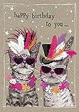 Popshot Studios Humor Geburtstag Karte Glitzersteine Grußkarte Katzen 17x12cm