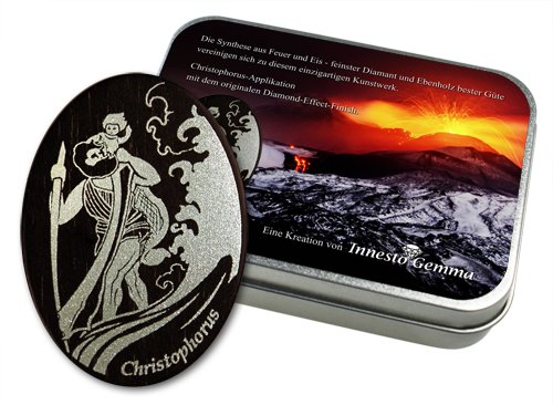 St Religiöse Volkskunst Christophorus santo patrono placa 25 mm oros con almohadilla adhesiva