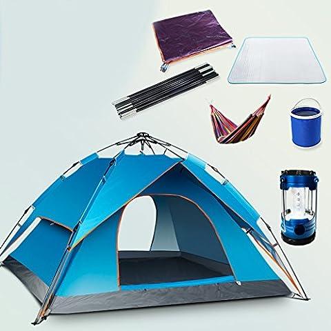 Resorte Automático de tienda al aire libre a prueba de lluvia de camping 3–4personas tienda de campaña doble litera Juego de 2, azul