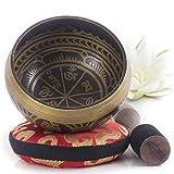 Silent Mind tibetische Klangschale Set ~ Antik Design ~ mit hochwertigem Holz Klöppel und Himalaya Kissen ~ perfektes Tibetan Singing Bowl Set zur Yoga Meditation, Entspannung und Achtsamkeit ~ das ideale Geschenkset