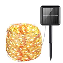 Solar String Lights, 200 LED Solar Garden Lights 8 Modes Solar Powered Fairy Outdoor Lights Outdoor for Christmas, Tree, Garden, Home, Wedding, Pathway, Party (Warm Light, Silver Wire 20M)