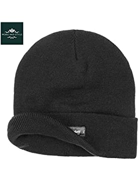 Warmy – Gorro con Vuelta Thinsulate 3M Beanie - by Work and Style - Negro, Talla única (aprox. 53-60 cm)