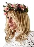 Lia Fashion Vintage Haarschmuck, Kranz, Hochzeit, Blumen elegant Braut cool zum Dirndl, Retrostil Haarkamm Diadem Haarschmuck klar, Perlen, bunt Seidenblumen