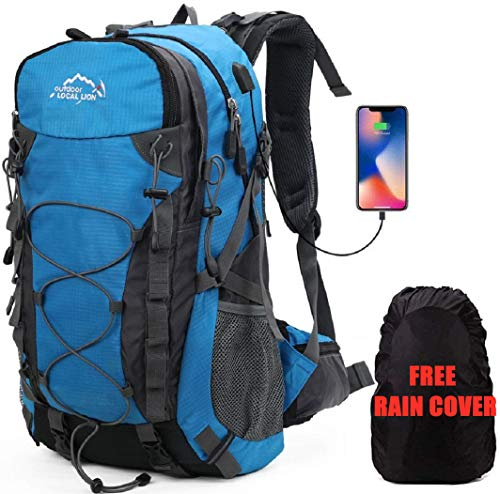 Meisohua Trekkingrucksack Wanderrucksack Wasserdicht Groß Trekkingrucksack Sport Rucksack Wanderrucksack Herren Damen 40L Travel Bags (Blau)