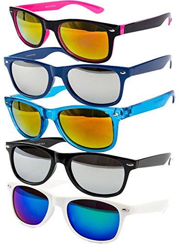 Ciffre 5 er Set EL-Sunprotect® Sonnenbrille Nerdbrille Brille Nerd Voll Verspiegelt