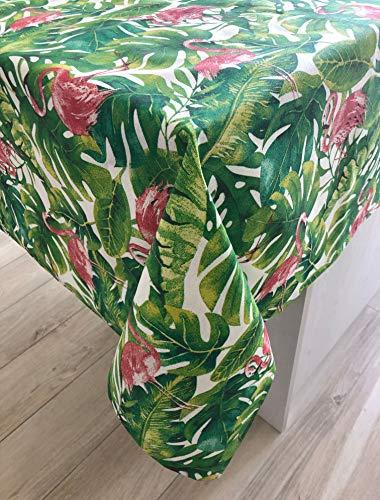 aus schmutzabweisendem Stoff. Elegante Palme, Blätter und Fenicotteri Rosa 130x300 cm Palms & Flamingos ()