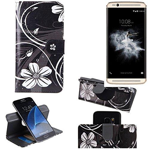 ZTE Axon 7 Mini 360° Wallet Case Schutz Hülle ''Flowers'' | Smartphone Flip cover Flipstyle Tasche Standfunktion innovativer Kameraschutz - K-S-Trade (TM)