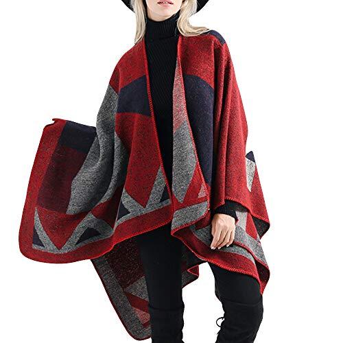 AIni 2019 Neuer Damen Decke ÜberGroße Tartan Coat Wrap Plaid Gemütlicher Schal Warm Jacke Coat Mäntel 2019 Neuheit(Einheitsgröße,Rot) Tartan-plaid-mantel