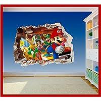 Super Mario Brothers Arte Agujero Impreso–Vinilo adhesivo para pared de dormitorio infantil (ss40014), Supersize 1200 x 855mm