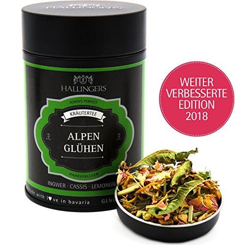 Hallingers Loser Kräuter-Tee mit Ingwer, Cassis & Lemongras (70g) - Alpenglühen (Premiumdose) - zu Bayern & Volksfeste ideal als Geschenk