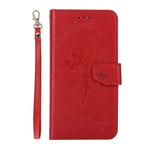 Abnehmbare 2 in 1 Crazy Horse Texture PU Ledertasche, Fairy Girl Embossed Pattern Flip Stand Case Tasche mit Lanyard & Card Cash Slots für Samsung Galaxy J510 ( Color : Rosegold ) Red