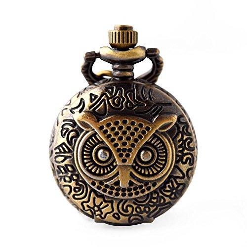 (YaNuoDa Taschenuhr mit Kette, Eulen-Motiv, für Kinder, arabische Zahlen, Bronzefarben, Quarzuhrwerk, mit Kette und Geschenkbox)