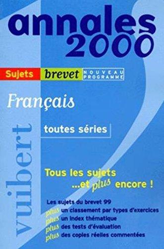 Annales 2000, français toutes séries, brevet corrigés numéro 8